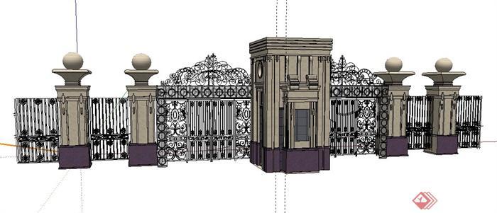 某欧式风格铁艺大门设计su模型