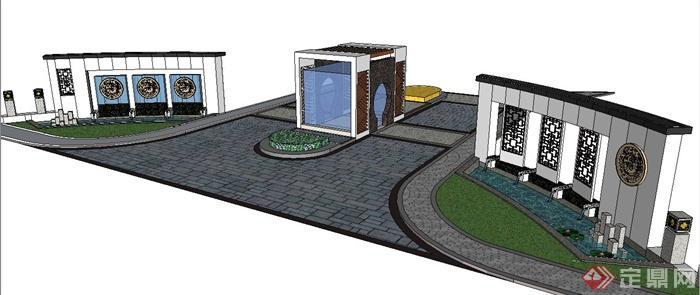 某现代中式风格入口大门设计su模型(2)图片