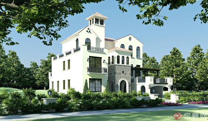 4米二层欧式别墅建筑图纸