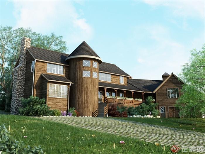 欧式风格别墅住宅建筑设计3dmax模型
