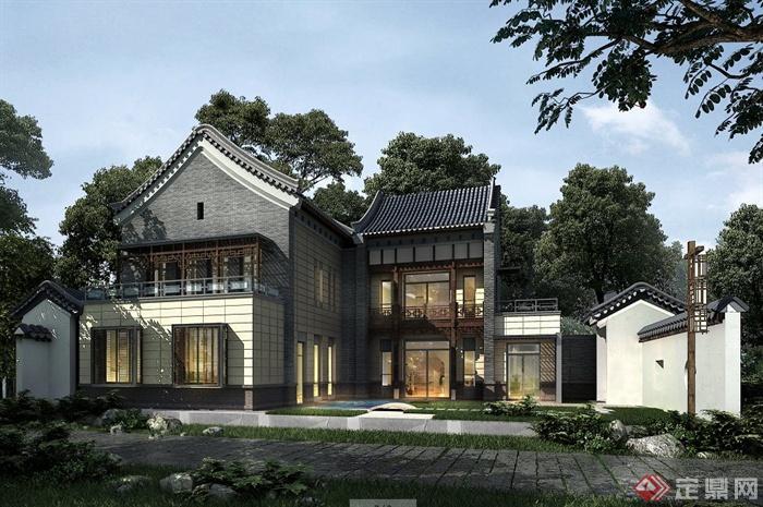 中式风格别墅建筑设计3dmax模型(含效果图)