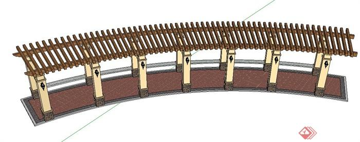 园林景观弧形廊架su模型(2)