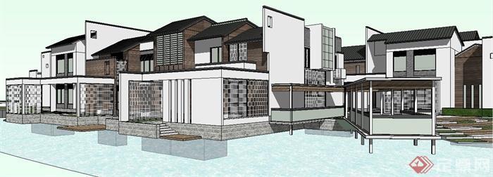 现代中式风格度假酒店建筑设计su模型(6)图片