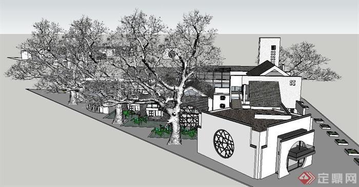 现代新中式乡镇度假酒店建筑设计su模型(4)