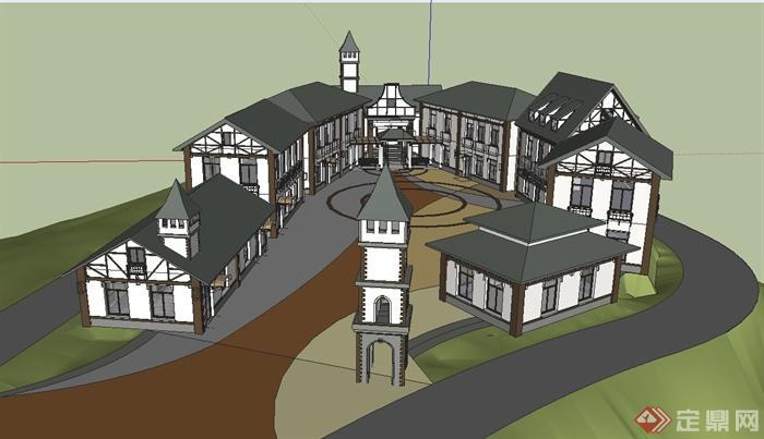 某欧式风情广场野生动物园建筑设计su模型[原创]图片