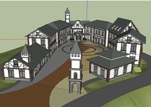 某欧式风情广场野生动物园建筑设计su(草图大师)模型图片