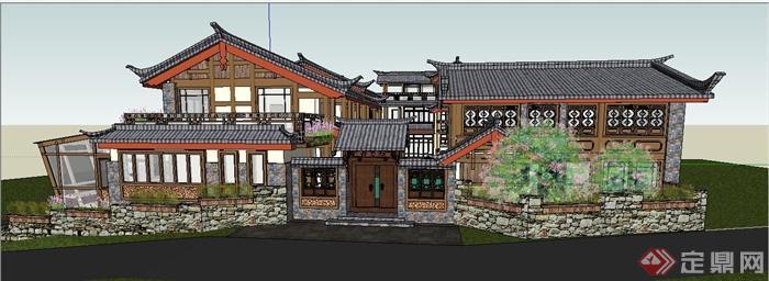 古典中式驿站旅馆建筑设计su模型(2)图片