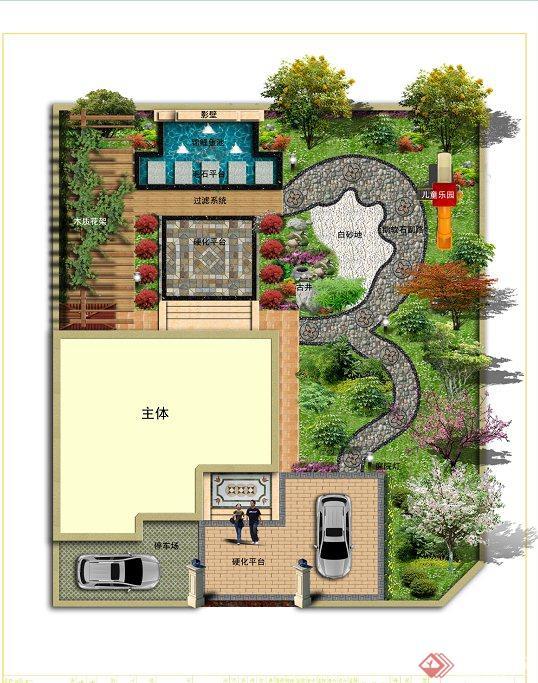别墅庭院景观设计jpg 图片,该景观规划合理,景观有铺砖园路,水体,植物