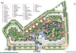 深圳某居住小区景观设计施工图-手绘居住区住宅区园林景观设计方案