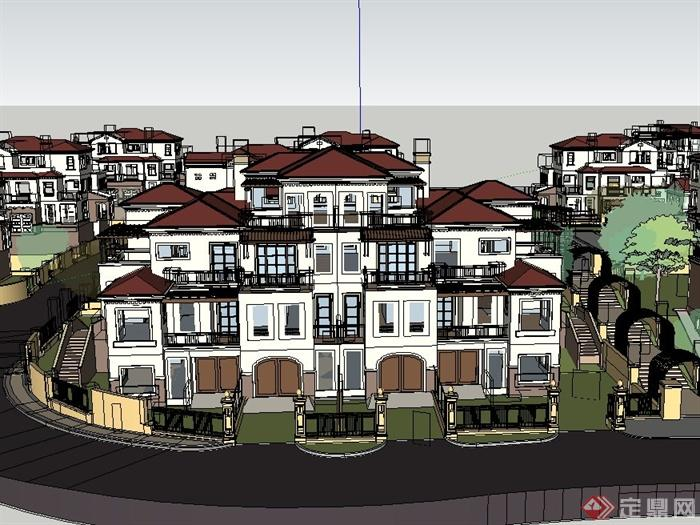 某欧式郊外多层别墅住宅区建筑设计su模型[原创]