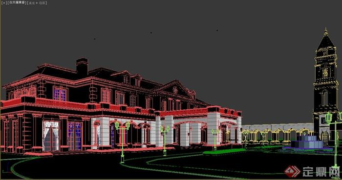 某欧式风格两层会所建筑设计3dmax模型