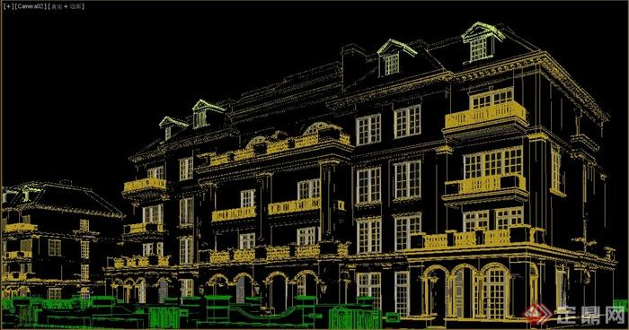 两栋欧式多层别墅建筑设计3dmax模型