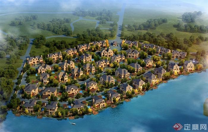 某现代欧式多层别墅住宅区建筑设计3dmax模型