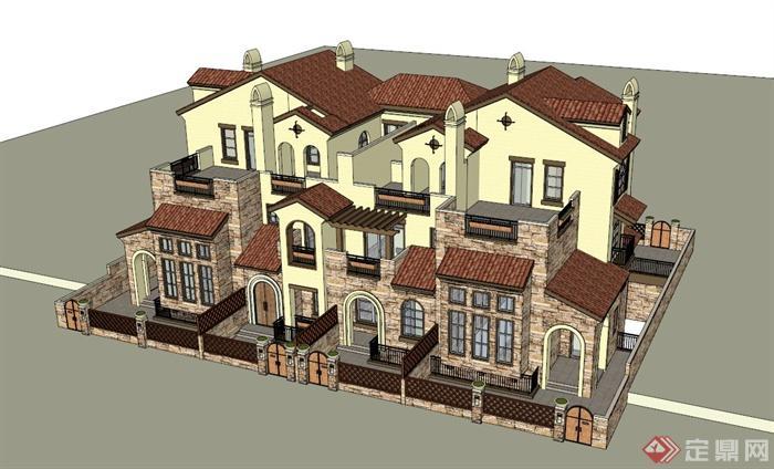地中海风格别墅建筑设计SU模图片