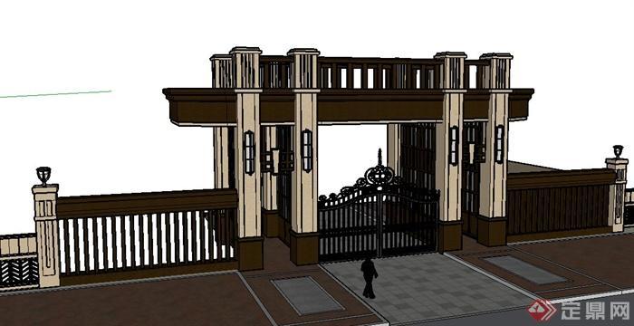 某新古典风格大门及围墙设计su模型[原创]