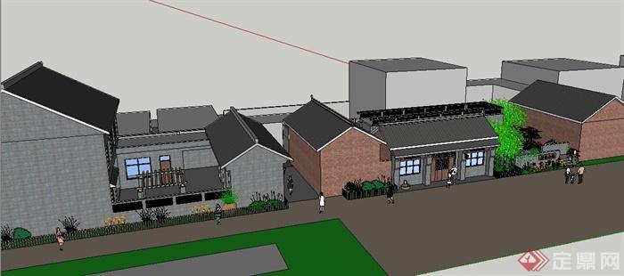 现代新农村民居建筑设计su模型