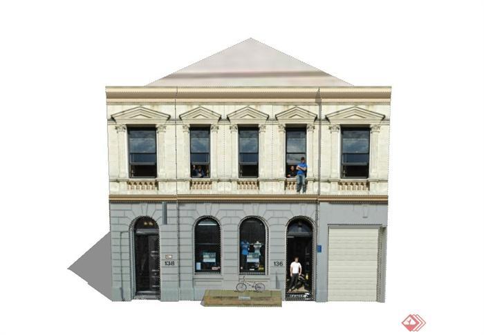 某两层长方形欧式室内娱乐室建筑设计su模型