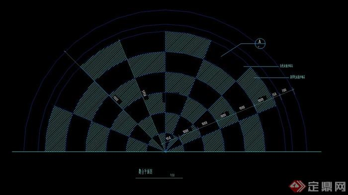 某半圆形广场铺装设计cad施工图