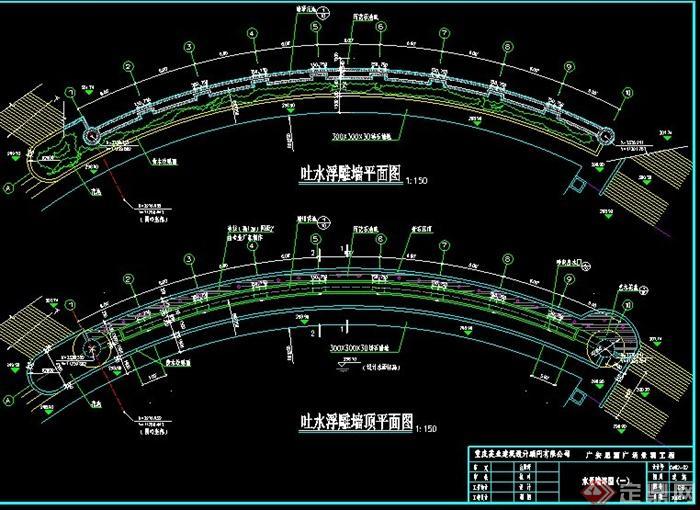 三个水景墙设计CAD施工图