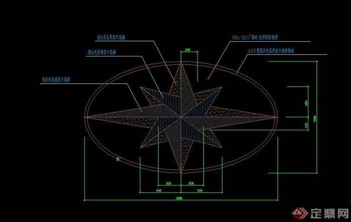 某椭圆形广场铺装设计cad施工图