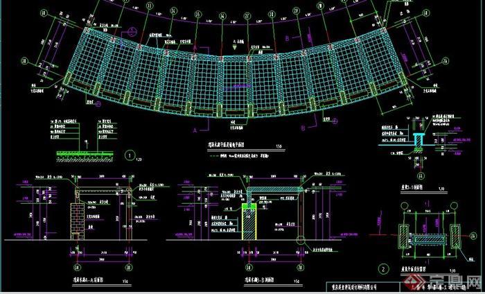 该设计有廊架平面及铺地平面图,廊架剖面图,坐凳平面及位置图和施工