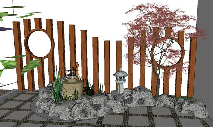 现代中式风格庭院景观设计su模型