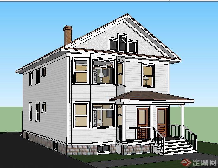 现代风格二层小别墅建筑设计su模型图片