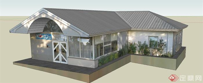 一栋动物诊所建筑设计su模型