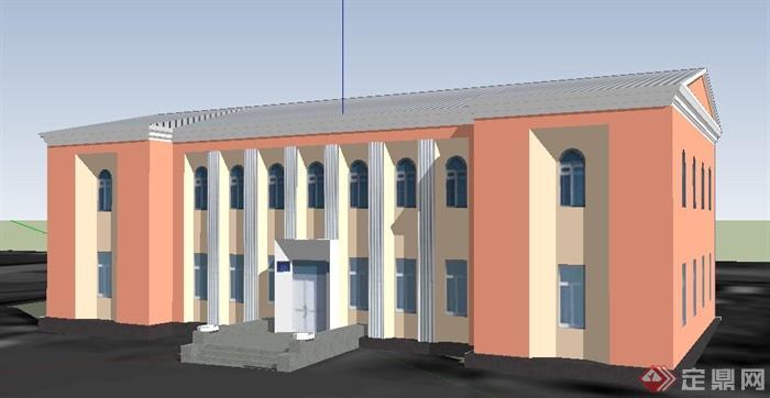简约欧式双层办公建筑设计su模型