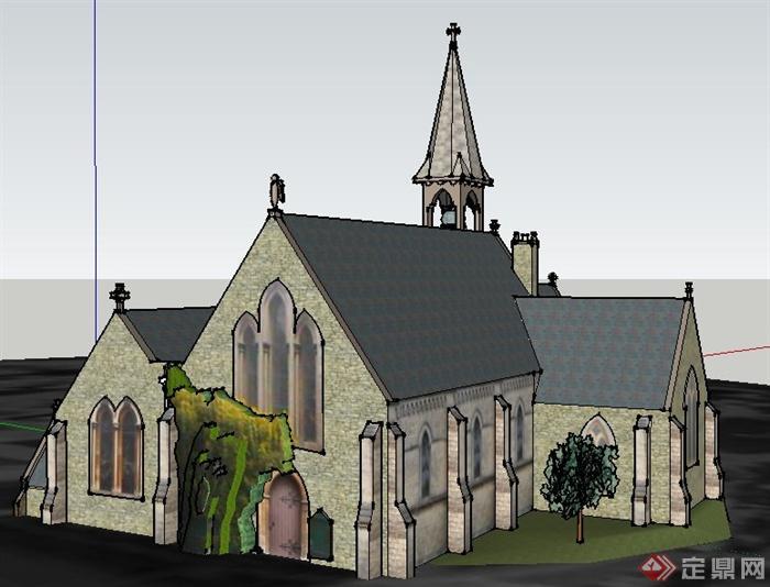 欧式风格小教堂建筑设计su模型