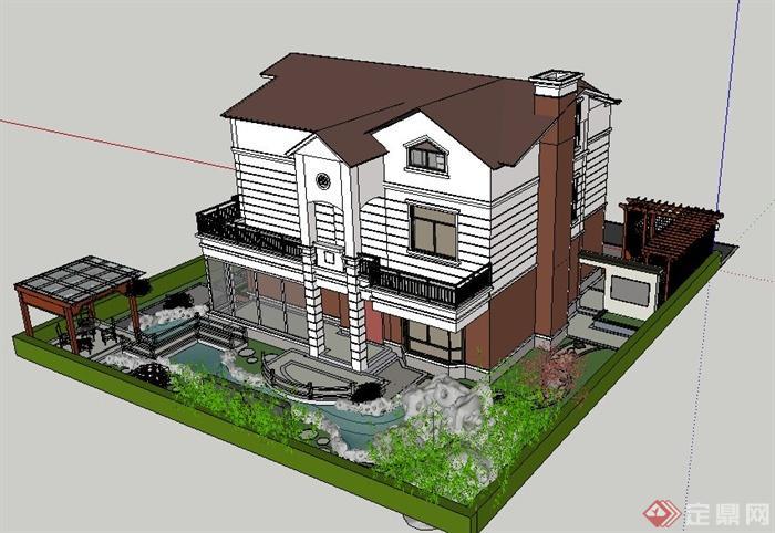 现代中式别墅建筑及庭院景观su模型[原创]