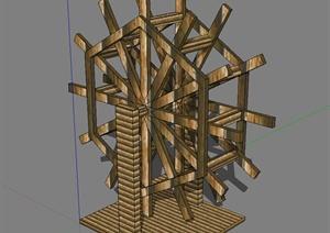 园林景观水车SU(草图大师)模型
