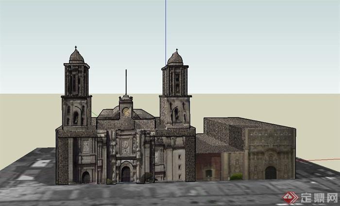 某欧式罗马大教堂建筑设计su模型