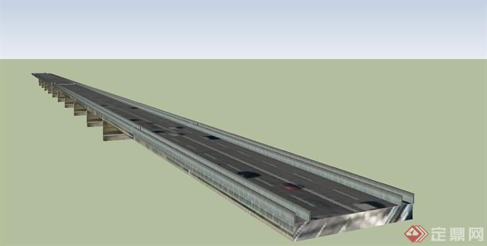 某段高速路高架桥设计su模型