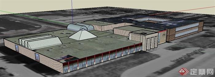 某欧式单层大超市建筑设计su模型(2)