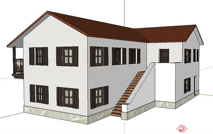 现代中式二层办公楼建筑设计su模型(2)