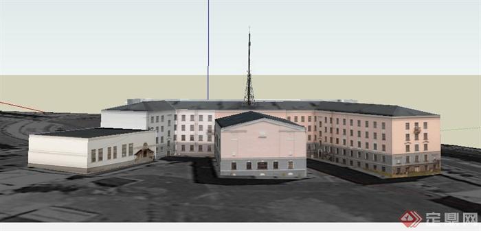某欧式山子形教学楼建筑设计SU模型,该建筑制作细致,模型有材质贴图,建是欧式风格,具有一定的参考价值。