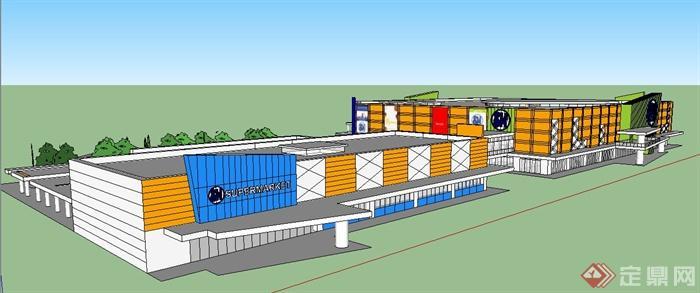 现代风格超市购物中心建筑设计su模型