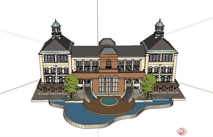 某欧式四层酒店建筑设计su模型