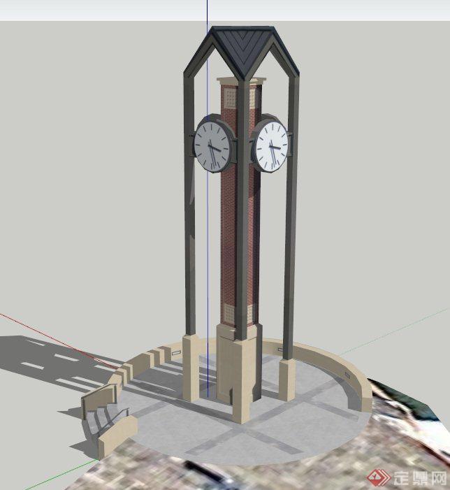 特色钟楼建筑设计su模型(1)