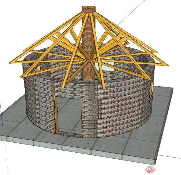 圆形房屋建筑设计su模型