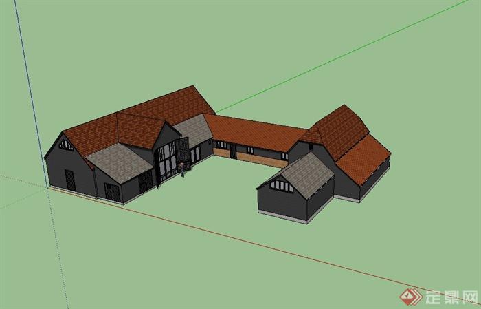 某欧式单层乡村农用仓库建筑设计su模型