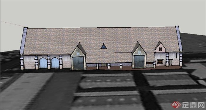 某欧式单层v形屋面住宅建筑设计su模型