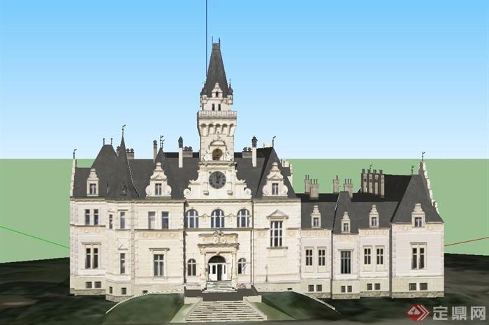 某欧式古典三层酒店建筑设计su模型