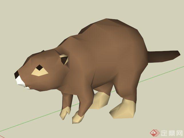海狸动物的su模型素材