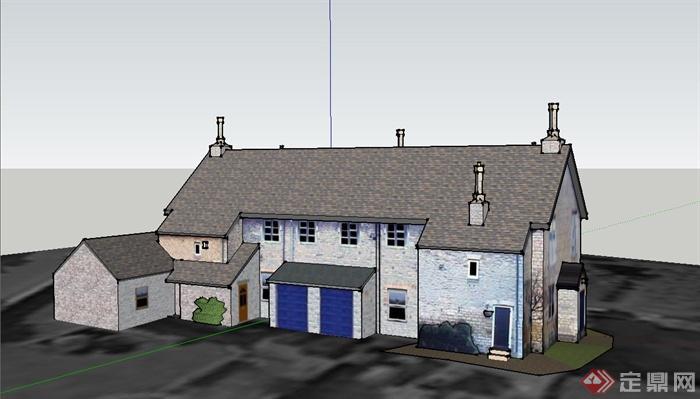 某两层乡村欧式住宅建筑设计su模型
