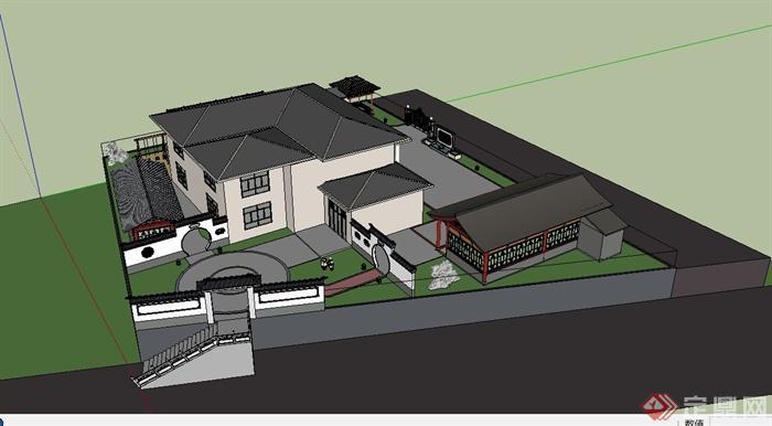 某古典中式徽派两层别墅建筑设计su模型