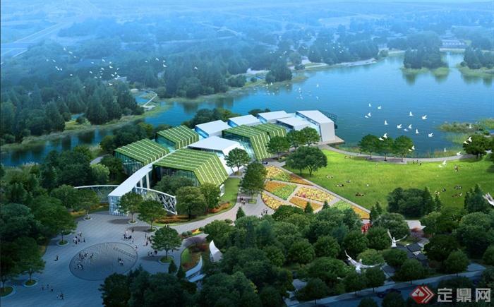某现代植物展览馆建筑景观psd鸟瞰图