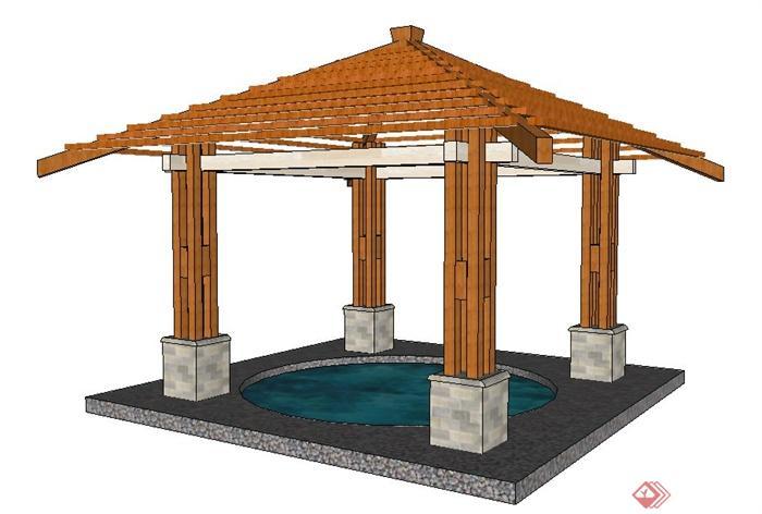 木质温泉亭su模型