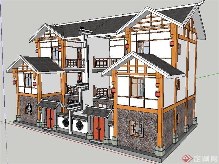 現代中式雙拼別墅建筑設計su模型
